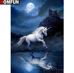 Diamanttavla (R) Moonlight Unicorn 40x50