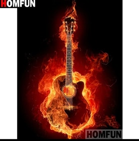 Diamanttavla Fire Guitarr 40x50