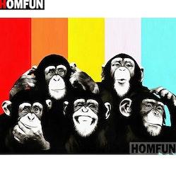 Diamanttavla Five Monkeys 40x50