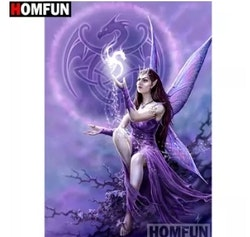 Diamanttavla Purple Fairy With Dragon 40x50