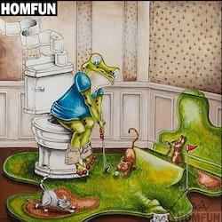Diamanttavla Toilet Frog Golf 40x40