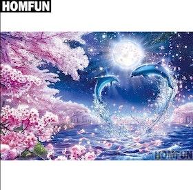 Diamanttavla (R) Dolphins Cherrytree 40x50