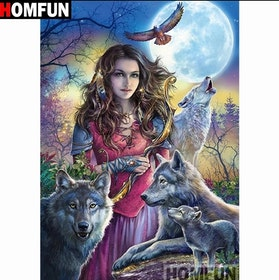 Diamanttavla Wolves And Forest Woman 40x50