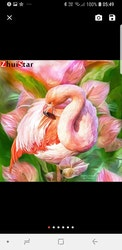 Diamanttavla Flamingo And Flowers 40x40