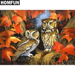Diamanttavla Autum Owl 40x50