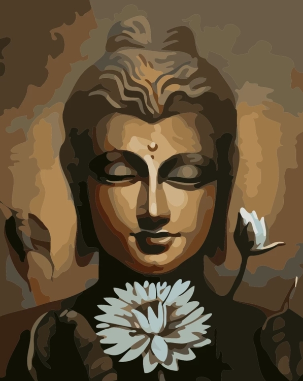 Paint By Numbers Buddha White Lotus 40x50