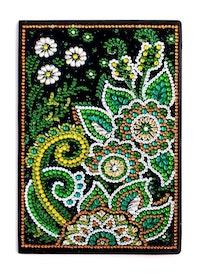 Diamanttavla Skrivbok Olinjerad Green Flower 64 sidor