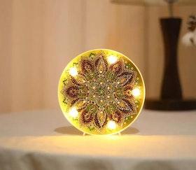 Diamanttavla Ledlampa Green Flower 15x15