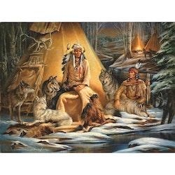 SNART I BUTIK  - Diamanttavla Forest Indians 50x70