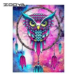 Diamanttavla Color Owl Dreamcatcher 30x40