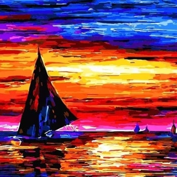 Paint By Numbers Segelbåt I Solnedgång 40x50