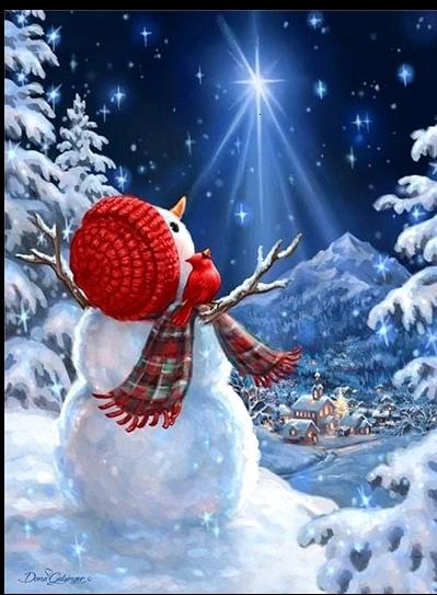 Diamanttavla (R) Snowman Starlight 50x50 - Leveranstid 1-3 Dagar