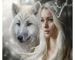 SNART I BUTIK - Diamanttavla Wolfwoman 50x50