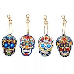 Diamanttavla Nyckelring Skull 4-pack
