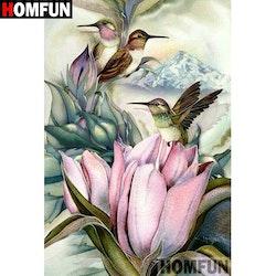 Diamanttavla Birds And Mountainflowers 40x50
