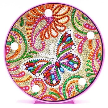 Diamanttavla Ledlampa Colorful Butterfly 15x15