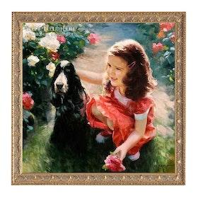 Flicka Med Hund Och Rosenbuskar 50x50