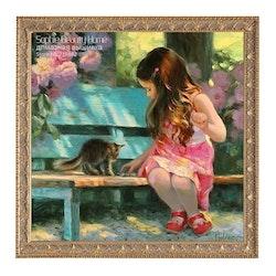 Diamanttavla -Flicka Och Katt På Bänk 50x50