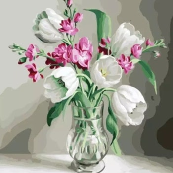 Paint By Numbers Tulpanbukett I Glasvas 40x50