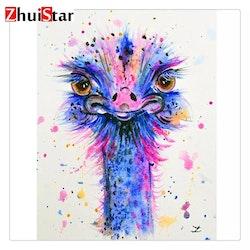 SNART I BUTIK  - Diamanttavla Pink And Blue Ostrich 30x40
