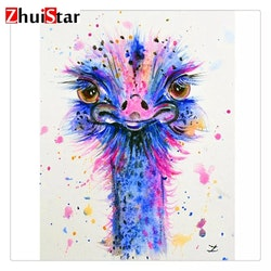 Diamanttavla Pink And Blue Ostrich 30x40