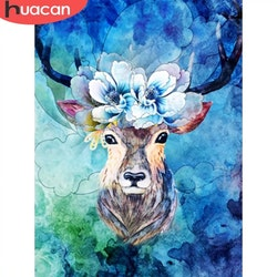 Diamanttavla Deer Blue Flower 40x50