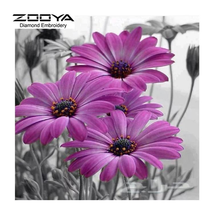 Diamanttavla (R) Purple Flower 40x40