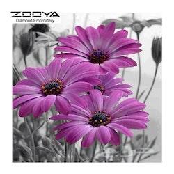 Diamanttavla Purple Flower 40x40