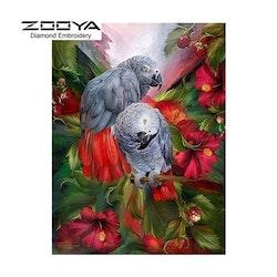 Diamanttavla Exotic Parrots 30x40