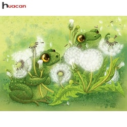 Diamanttavla Frogs And Dandelion  40x50