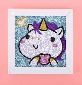 Diamanttavla Med Ram Unicorn 15x15 cm