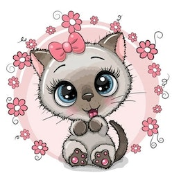 Diamanttavla Cartoon Cute Cat 30x30
