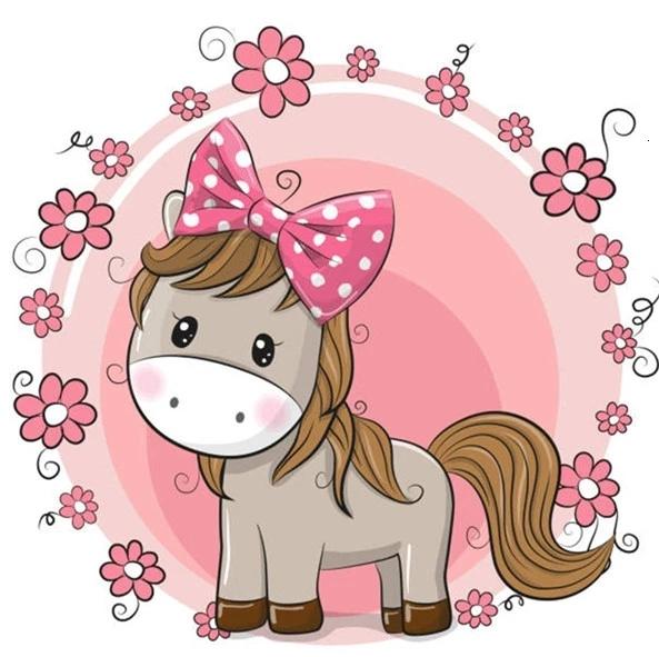 Diamanttavla Cartoon Cute Horse 30x30