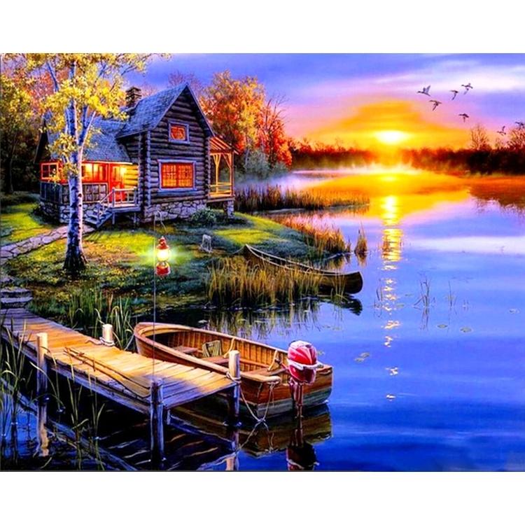 Diamanttavla Sunset Boat 40x50 - Leveranstid 1-3 Dagar