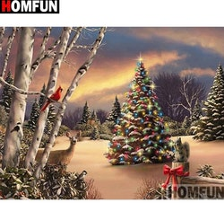 Diamanttavla Christmas Wood 40x50