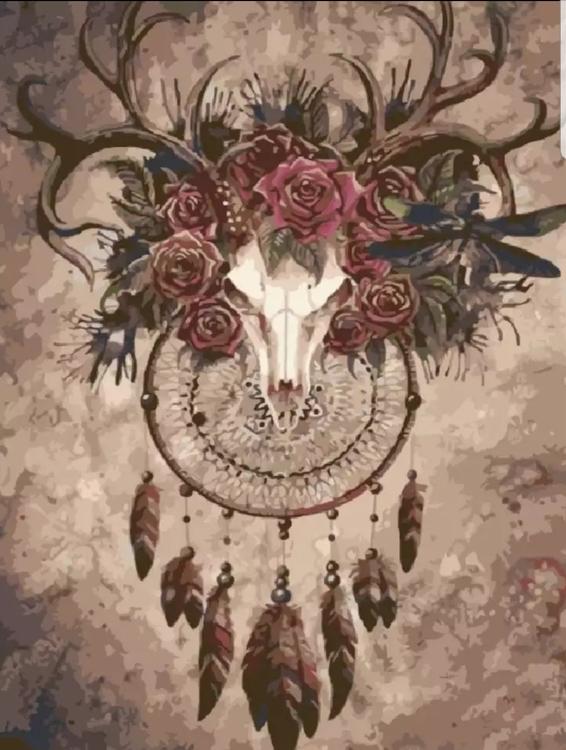 Paint By Numbers Deer Skull 40x50