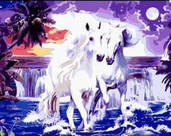 Paint By Numbers Two White Horses 40x50