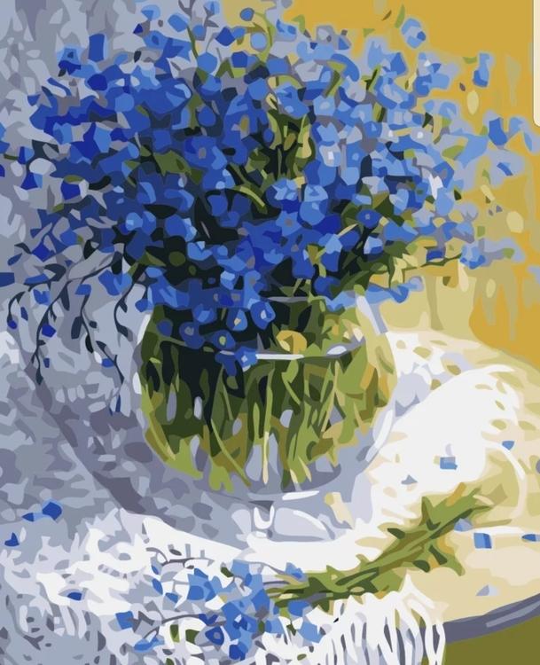 Paint By Numbers Blå Bukett I Glasvas 40x50