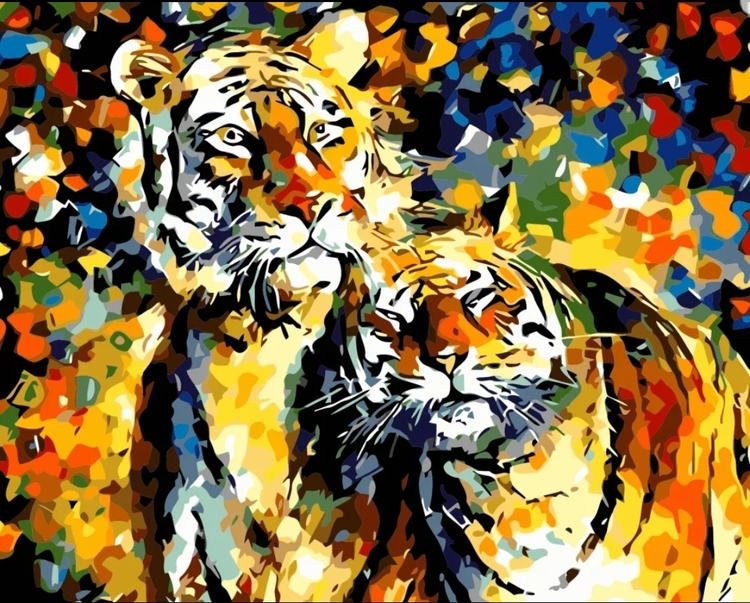 Paint By Numbers Color Tigers 40x50