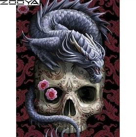 Diamanttavla Chinese Dragon Skull 40x50