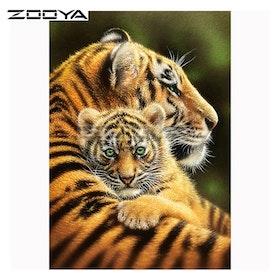 Diamanttavla Tiger And Baby 40x50