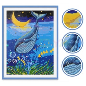 Diamanttavla Med Paint By Numbers Whale Moon 30x40