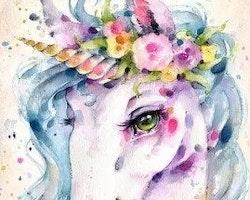 Diamanttavla Watercolor Unicorn 30x40