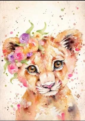 Diamanttavla Watercolor Lion 30x40