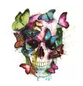 Diamanttavla (R) Color Butterfly Skull 40x40