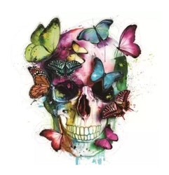 Diamanttavla Color Butterfly Skull 40x40