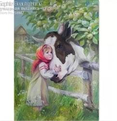 Diamanttavla Girl And Cow 40x50