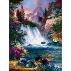 Diamanttavla Flower Waterfall 40x50