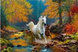 Diamanttavla Autum Horses 60x90