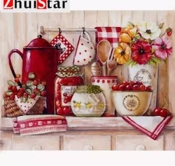 Diamanttavla (R) Kitchen Red Berry 40x50